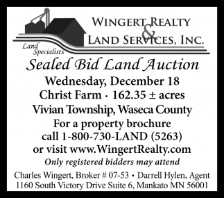 Sealed Bid Land Auction ~ December 18