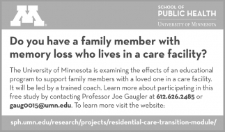 Do you have a family member with memory loss who lives in a care facility?
