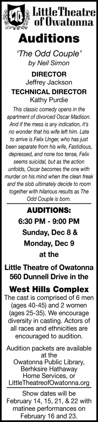 Auditions - The Odd Couple | West Hills Complex