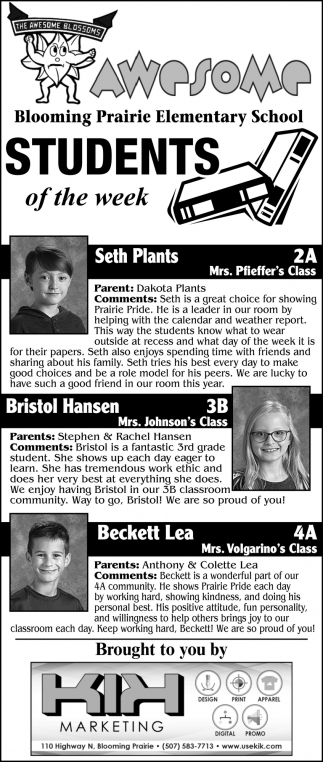 Students of the week - Seth Plants, Bristol Hansen, Beckett Lea