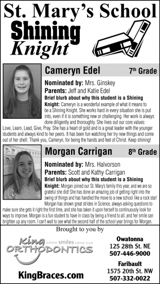 Students of the Week - Cameryn Edel, Morgan Carrigan