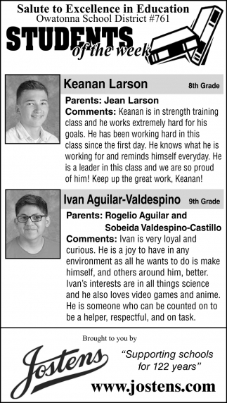 Students of the Week - Keanan Larson, Ivan Aguilar-Valdespino