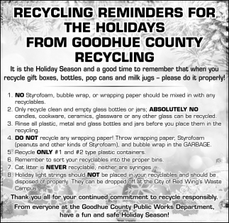 Recycling Reminders For The Holidays