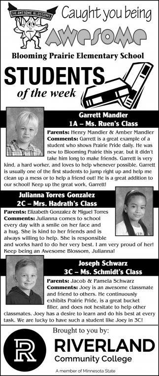 Students of the Week - Garrett Mandler, Julianna Torres Gonzalez, Joseph Schwarz