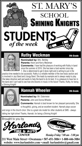 Students of the Week - Ruthy Weckman, Hannah Wheeler