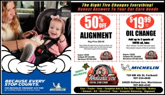 50% Off Alignment |  $19.99 Oil Change