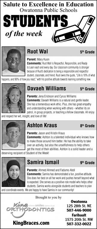 Students of the week - Ruot Wal, Davaeh Williams, Ashton Kraus, Samira Ismail