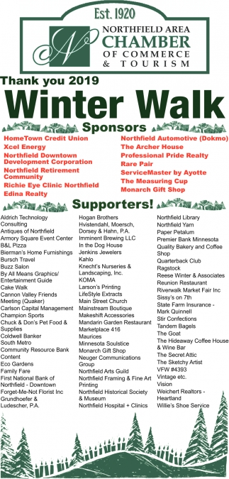 Thank you 2019 - Winter Walk Sponsors