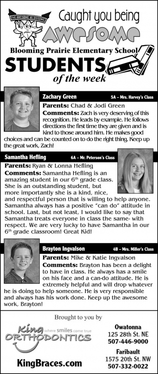 Students of the week - Zachary Green, Samantha Hefling, Brayton Ingvalson