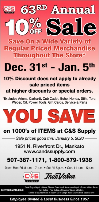 63rd Annual 10% off Sale