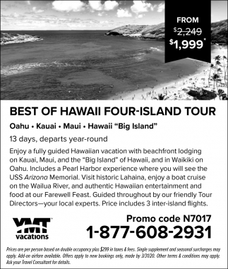 Best of Hawai Four Island Tour