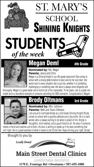 Students of the Week - Megan Deml, Brody Oltmans
