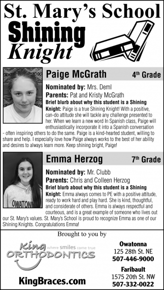 Students of the week -Paige McGrath, Emma Herzog,