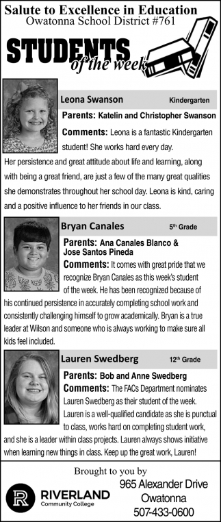 Students of the Week - Leona Swanson, Bryan Canales, Lauren Swedberg