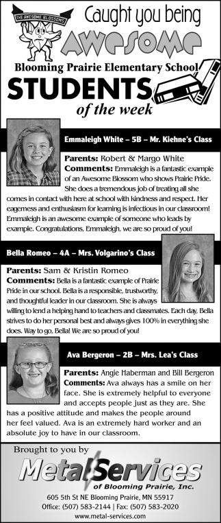 Students of the week -Emmaleigh White, Bella Romeo, Ava Bergeron