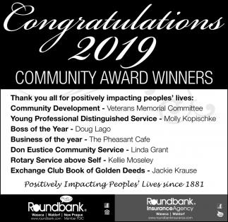 Congratulations 2019 Community Award Winners
