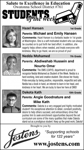 Students of the Week - Hazel Hansen, Abdiwahab Hussein and Nourto Omar, Angie Goodnature and Mike Kath