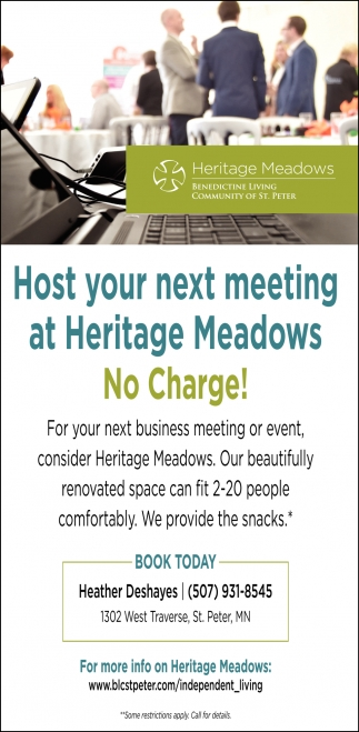 Host your next meeting at Heritage Meadows