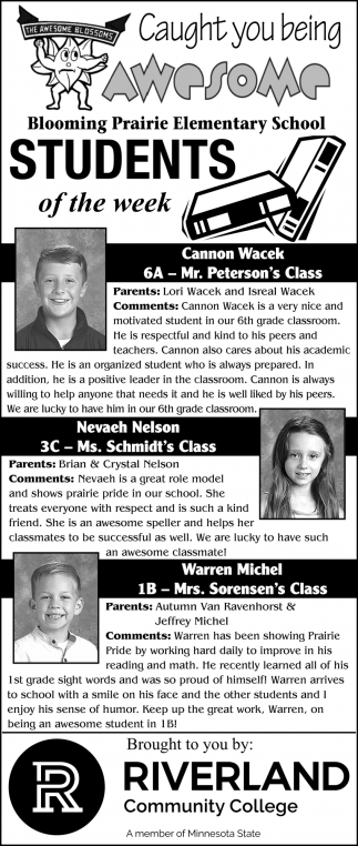 Students of the Week - Cannon Wacek, Nevaeh Nelson, Warren Michel