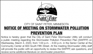 Notice of Meeting on Stormwater Polution Prevention Plan