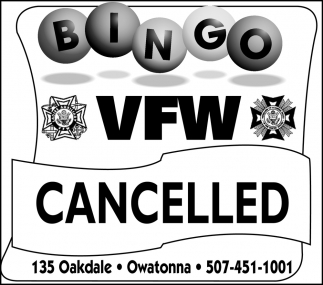 Bingo VFW Cancelled