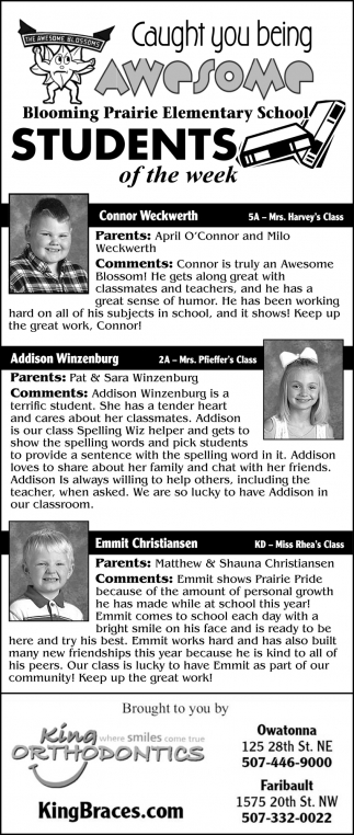 Students of the week - Connor Weckwerth, Addison Winzeburg, Emmit Christiansen