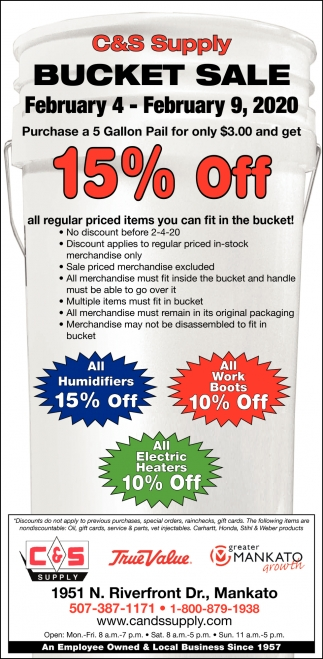 Bucket Sale - 15% Off