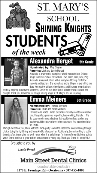 Students of the Week - Alexandra Herget, Emma Meiners