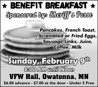 Benefit Breakfast Sponsored by: Sheriff's Posse