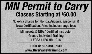 Mn Permit to Carry - Classes Starting at $60.00