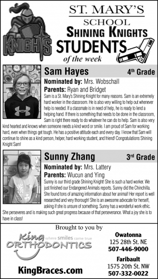 Students of the week - Sam Hayes, Sunny Zhang