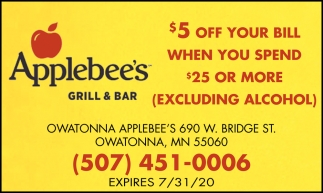 $5 off your bill when you spend $25 or more (excluding alcohol)