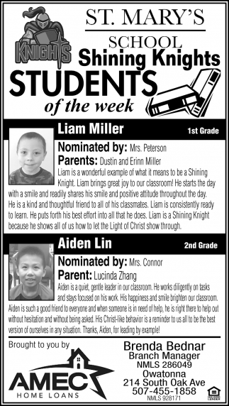 Students of the week - Liam Miller, Aiden Lin