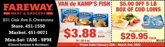 $5.00 Off 5 Lb Box Of Cod Loins