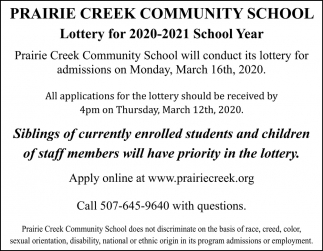 Lottery for 2020-2021 School Year