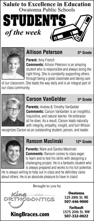 Students of the week - Allison Peterson, Carson VanGelder, Ransom Maslinski
