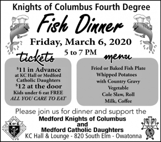 Fish Dinner - March 6