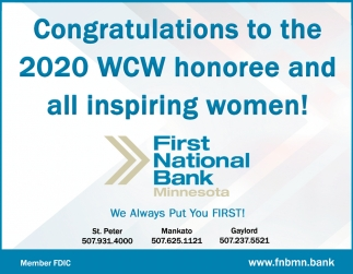 congratulations 2020 WCW honoree and all inspiring women!