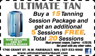 Buy a 15 tanning session and get 5 sessions FREE