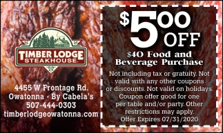 $5 Off a $40 food and beverage purchase