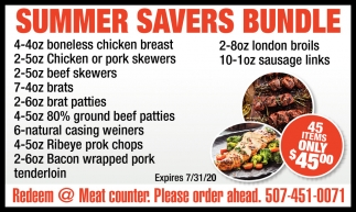 Summer Savers Bundle - Redeem @ Mear Counter