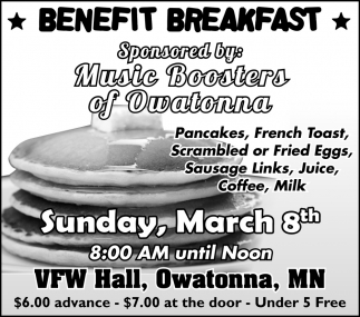 Benefit Breakfast - Sponsored by: Music Boosters of Owatonna
