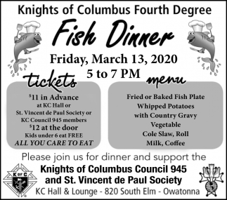 Fish Dinner - March 13