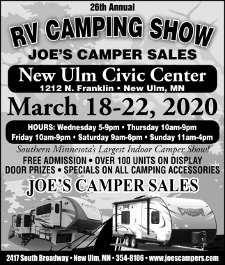 26th RV Camping Show - At New Ulm Civic Center