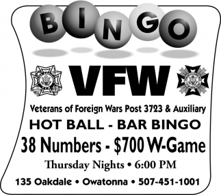 Bingo - 38 numbers - $700 W-Game