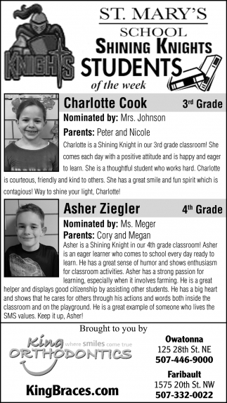 Students of the week - Charlotte Cook, Asher Ziegler
