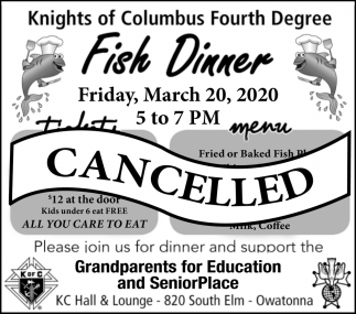 Fish Dinner - March 20 - Cancelled