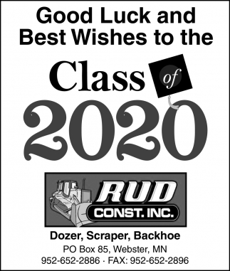 Good Luck and Best Wishes to the Class of 2020