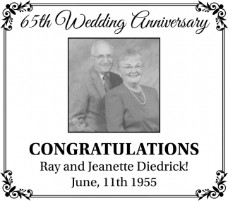 65th Wedding Anniversary