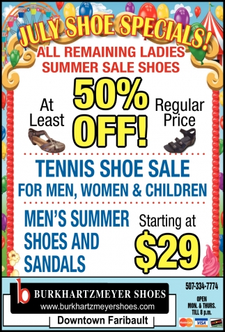 July Shoe Specials!
